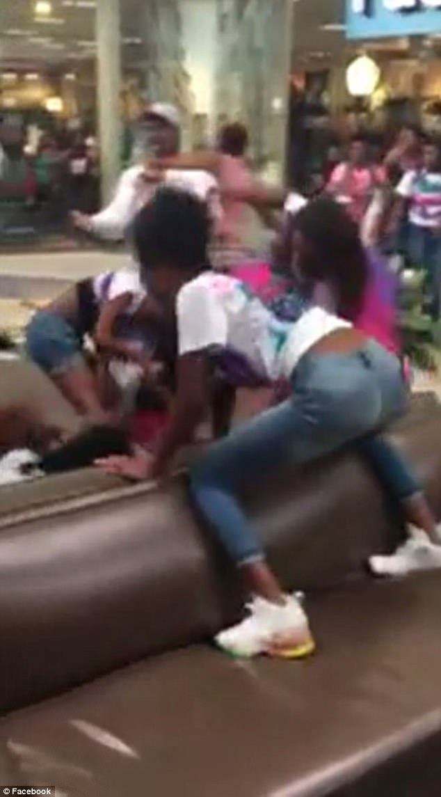 A video of a massive fight at Orange Park Mall in Florida between up to 60 teenage girls was shared to Facebook on Saturday, according to CBS; five were arrested