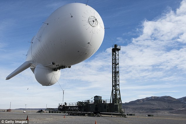The NSA used a blimp to spy on communications around Long Island in 2004, a newly leaked document claims (pictured: a later government blimp called JLENS in 2014)