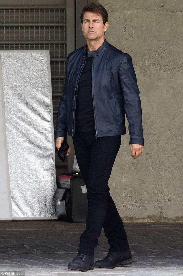 Too cool:Tom Cruise, 54, cut a cool figure as he filmed new Mission Impossible 6 movie scenes in Paris, France, on Monday