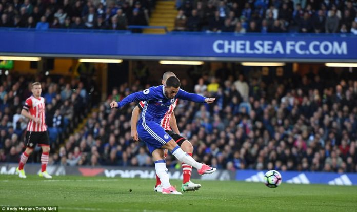 After a brisk early flurry from Southampton, Hazard put Chelsea in front when he finished off a quick counter attack