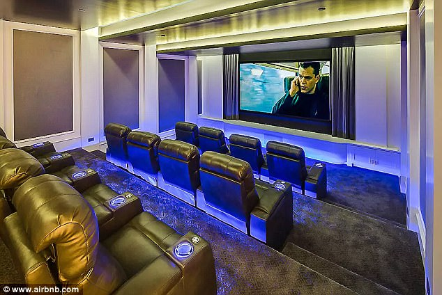 Screening spot: A private movie theater offers the perfect place for the Too Good rapper to relax