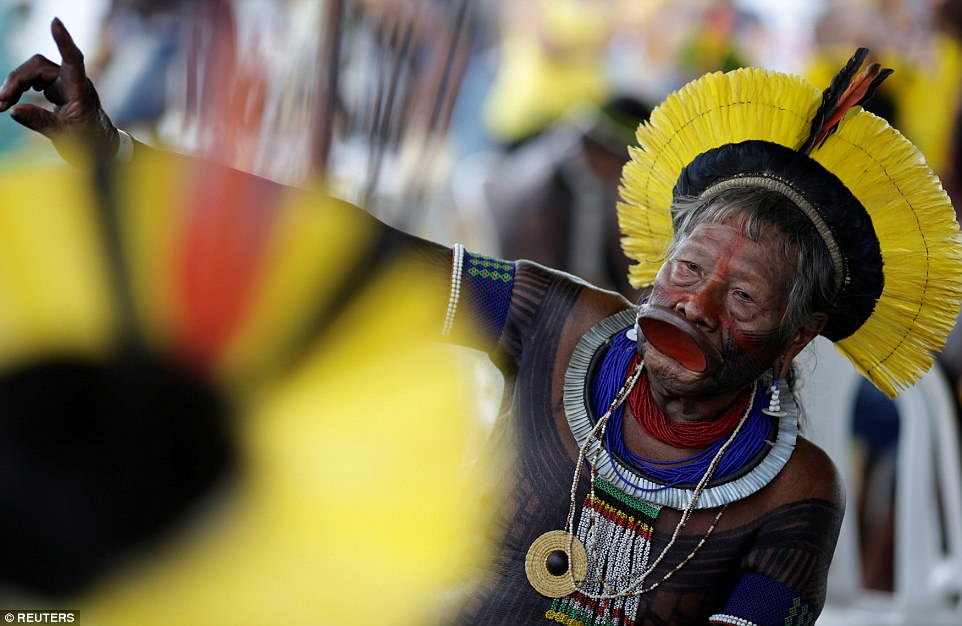 Raoni Metuktire, a leader of the Brazilian indigenous ethnic Kayapo people, is one of those leading and supporting the marches through the capital this week