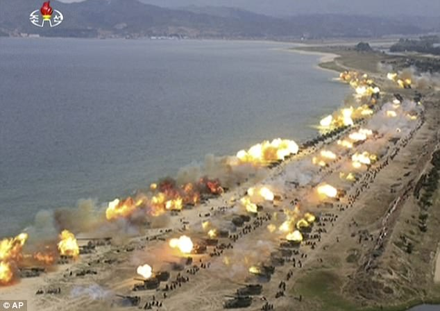 Hundreds of weapons were fired across the sea in Wonsan, North Korea, in the military demonstration