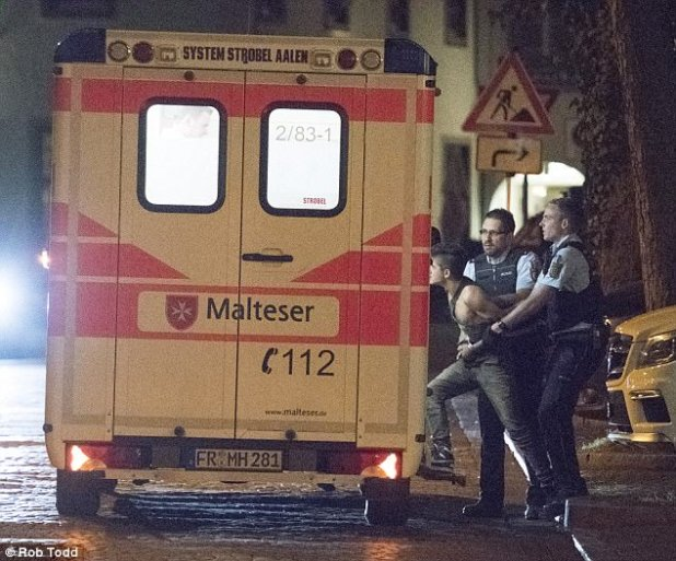 One aggressive drunk is handcuffed before being frogmarched to an ambulance and taken to hospital from a park in Freiburg