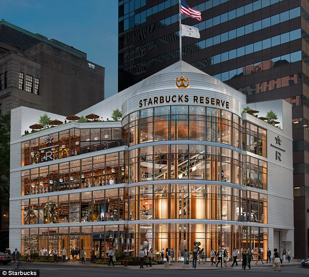 Gourmet: Starbucks announced Wednesday it will open an upscale location on Chicago's glamorous Magnificent Mile (pictured) focused on small-batch coffee