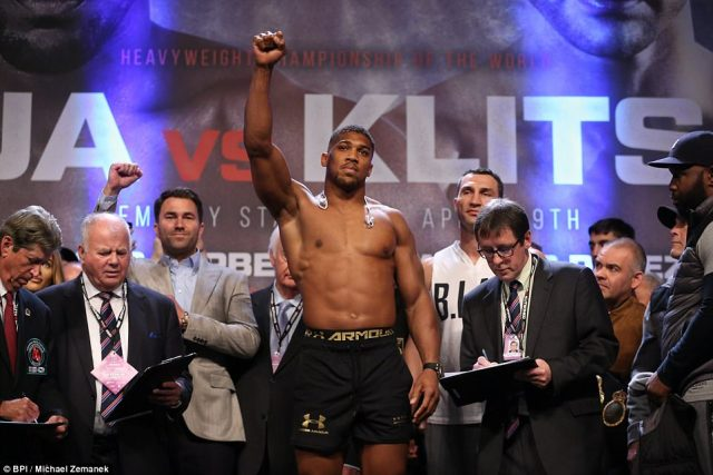 IBF heavyweight champion Joshua tipped the scales at 17st 12lbs 2oz at Wembley Arena following the weigh-in