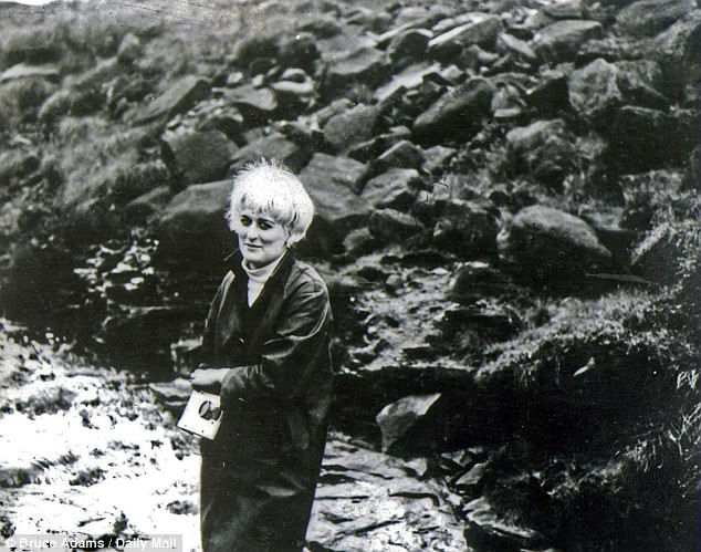 Myra Hindley pictured on Saddleworth Moor in a photo taken by Ian Brady