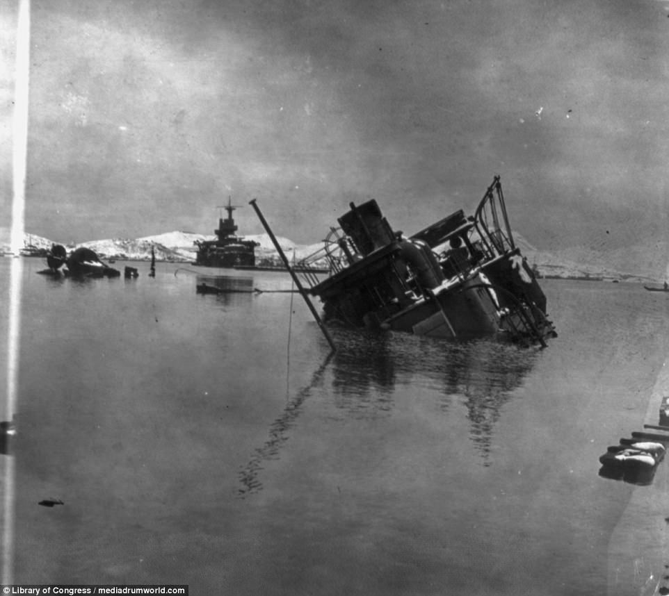The Russo-Japanese war would be a humiliating defeat for Russia, with its reputation as a great power severely dented as a result. The two nations went to war over rival imperial ambitions in Manchuria, China and Korea. This image shows sunken warships in a conflict which cost Russia most of its Pacific and Baltic fleets