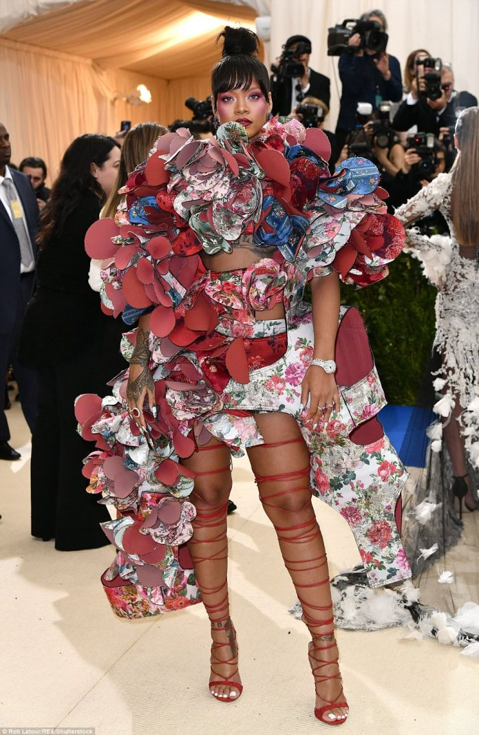 Just another casual night out: Rihanna didn't hold back in her fabulous Comme des Garçons gown