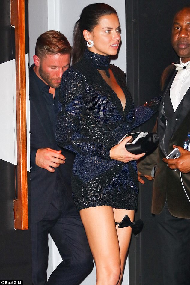 Setting tongues wagging: Adriana Lima and her former flame Julian Edelman set tongues wagging on Monday in New York after they were spotted leaving Marc Jacob's Met Gala after-party at the Boom Boom Room together