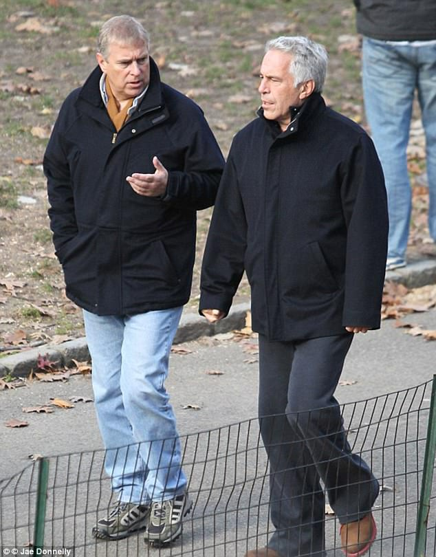 In an affidavit filed last year, Roberts said that she had had sex with Prince Andrew (pictured with Jeffrey Epstein on a stroll in New York) on Epstein's properties. Prince Andrew emphatically denied her allegations