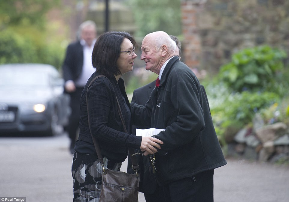 Madeleine McCann's great uncle Brian Kennedy greets a well wisher as they attend the prayer service in Rothley