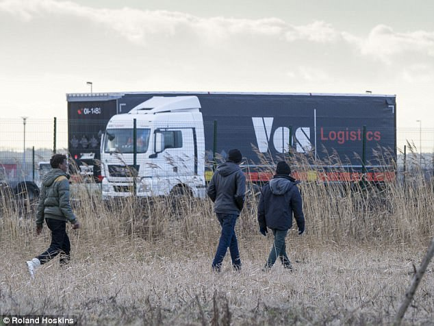 Migrants seen around the truck stops in Marck, Calais, 2 months after the closure of the Jungle camp