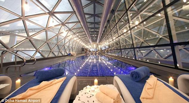 Drifting off: Hamad International Airport in Doha, Qatar, boasts a top-of-the-range spa facility complete with a pool, tub, gym and squash courts