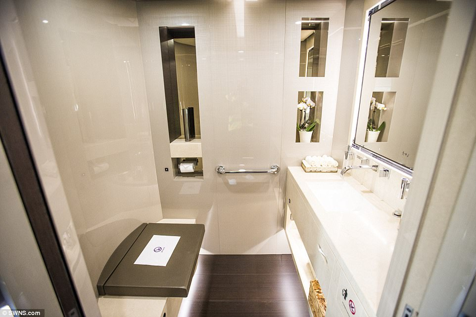 Stunning: Bathrooms are kitted-out and come furnished with polished marble, solid oak wood and Jo Malone toiletries
