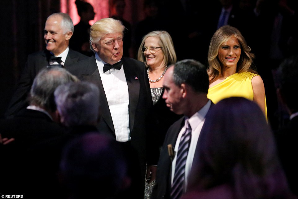 President Donald Trump, first lady Melania, Mr Turnbull and his wife Lucy were seen arriving at an event commemorating the 75th anniversary of the Battle of the Coral Sea after the meeting