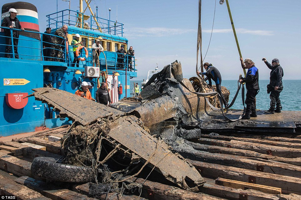 A World War II fighter aircraft was dredged up from the bottom of the Kerch Strait between Crimea and mainland Russia on Saturday