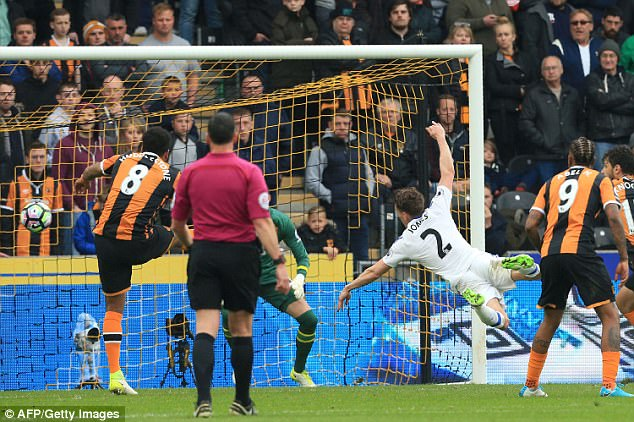 Jones leaps for the ball and gets there before the Hull defence to open scoring for Sunderland