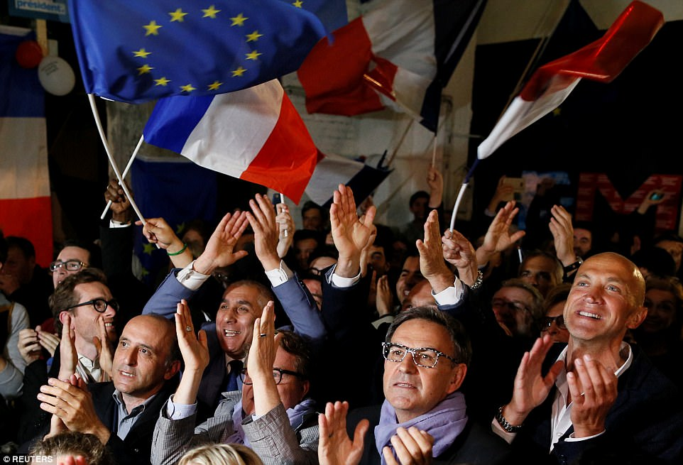 Image result for supporters of macron celebrate