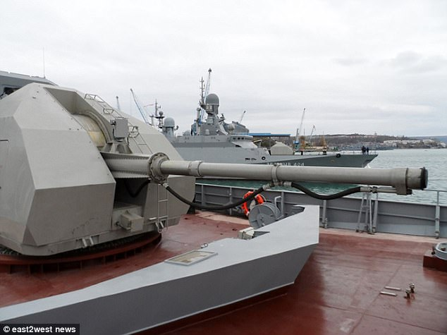 Russian military sources refused to say why the vessels had been diverted, though said fewer would take part in the St Petersburg parade than planned (Liven 551, pictured)
