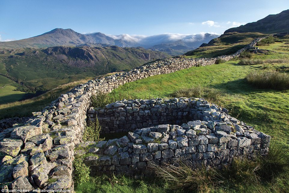 Archaeological wonder: The site of the Hardknott Roman Fort, which was founded under Hadrian's rule in the 2nd century