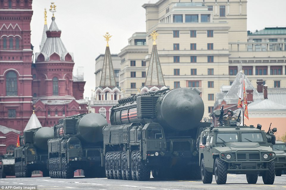 Russian Yars RS-24 intercontinental ballistic missiles were brought in to the square after a parade by thousands of troops