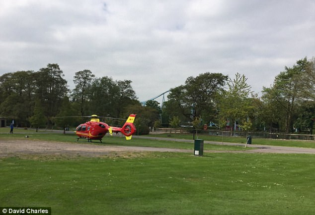 The air ambulance, police and several fire units arrived at Drayton Manor theme park today