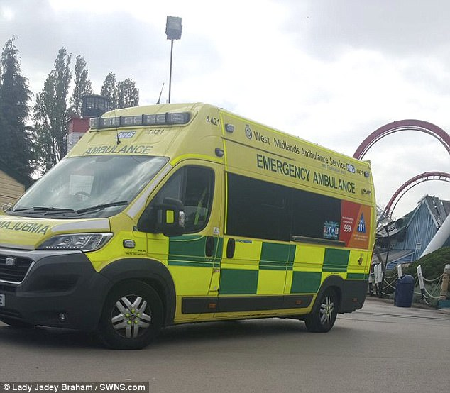 West Midlands Ambulance Service paramedics were called to the theme park at 2.18pm today
