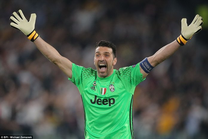 Italian goalkeeper Gianluigi Buffon cannot hide his delight after seeing his side take the lead on Tuesday night