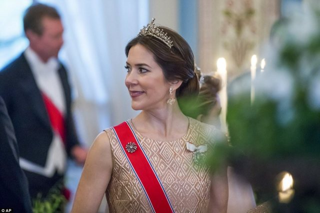 The stylish Danish royal made a bold sartorial statement, choosing a peplum skirt instead of a traditional full gown