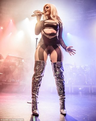 Sexy: Bebe Rexha, 27, showed why she was the hot name on everyone's lips, as she took to the stage at Fabrique Club in Milan on Wednesday