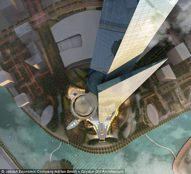 The skyscraper is intended to be the centre piece of the Kingdom City development beside the Red Sea and will have 170 floors, most of which will be habitable. This is an image of what it might be like to look down on the structure