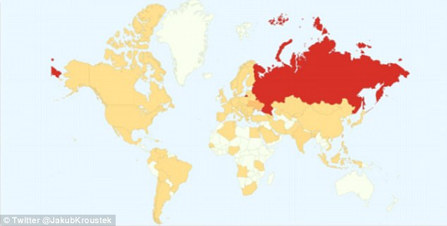 This map released by cybersecurity experts, shows the impact of the ransomware around the world - with affected countries shown in orange and red. Russia is thought to be the worst affected