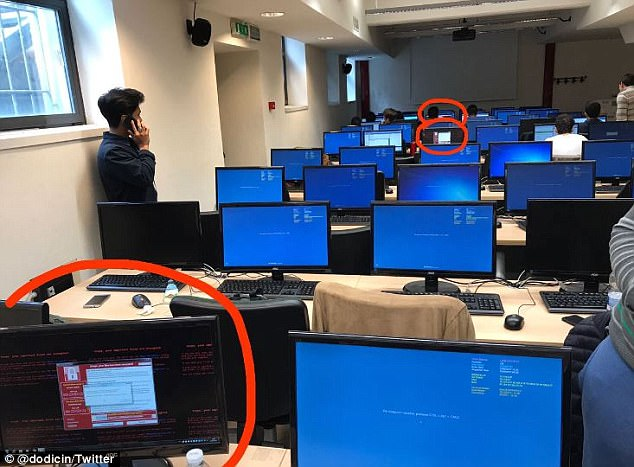 Several computers at a university in Italy were also randomly targeted in the cyber attack