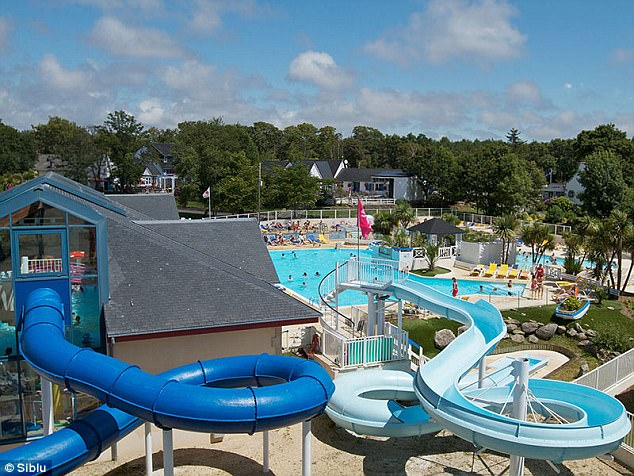 The park boasts an indoor and outdoor pool with a separate slide and volleyball mini pool