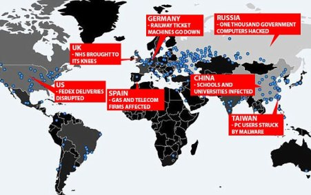 This map released by cybersecurity experts, shows the impact of the ransomware around the world - with blue dots representing incidents across the globe. Russia is thought to be worst affected