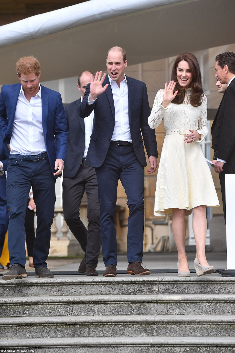 The Duke and Duchess of Cambridge and Prince Harry hosting a Buckingham Palace tea party for the children of Armed Forces men and women who died in service to their country