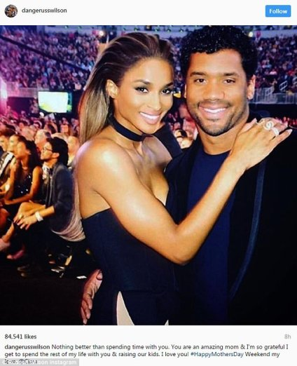 'Raising our kids': Russell Wilson posted sweet Mother's Day message to wife Ciara on Saturday... but caused controversy with his choice of words