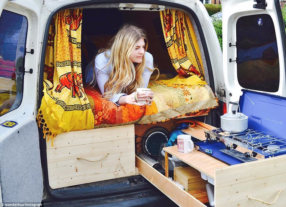 The vans are usually redesigned at a fraction of the price of renting a property - with insulation for the colder months