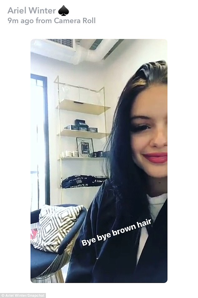 Getting hair:Once inside the salon, the brunette bombshell took to Snapchat to share selfies from her chair