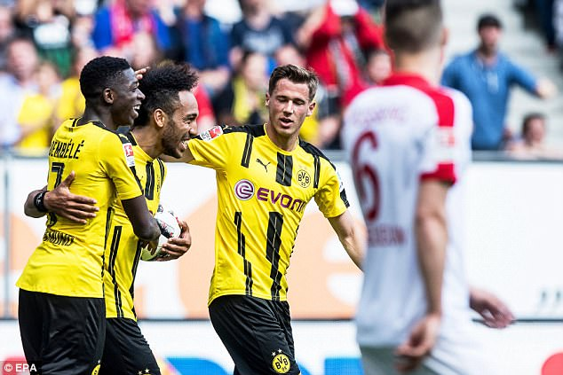 Pierre-Emerick Aubameyang (second left) and Borussia Dortmund could face Liverpool