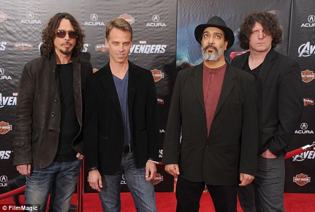 The band: Musicians Chris, Matt Cameron, Kim Thayil and Ben Shepherd of Soundgarden at the Los Angeles premiere of Marvel's Avengers at the El Capitan Theatre on April 11, 2012