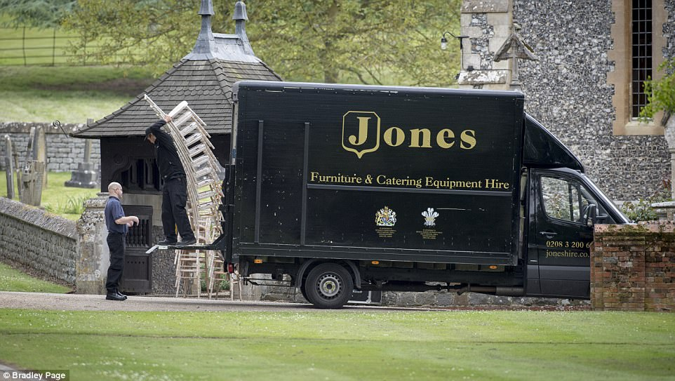 A chair delivery company was seen arriving to drop a huge order of chairs off at the church, which are thought to be for Pippa's big day