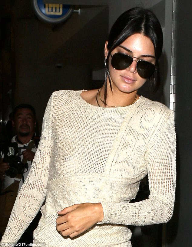 See through: Kendall Jenner flashed her nipple to the world as she went bra-less under a cream crochet top for a flight out of Los Angeles on Thursday