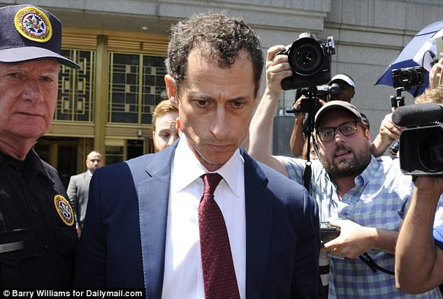 Facing the cameras: Anthony Weiner wept in court as he plead guilty to a single charge of transferring obscene material to a minor in federal court on Friday (above leaving court)