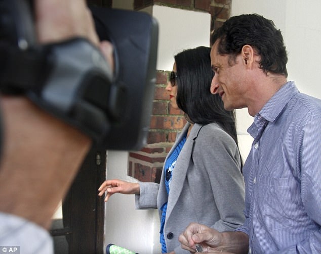 First time around: Abedin and Weiner enter their home in Queens on June 16, 2011 just before he announced his resignation from Congress in the wake of his first sexting scandal