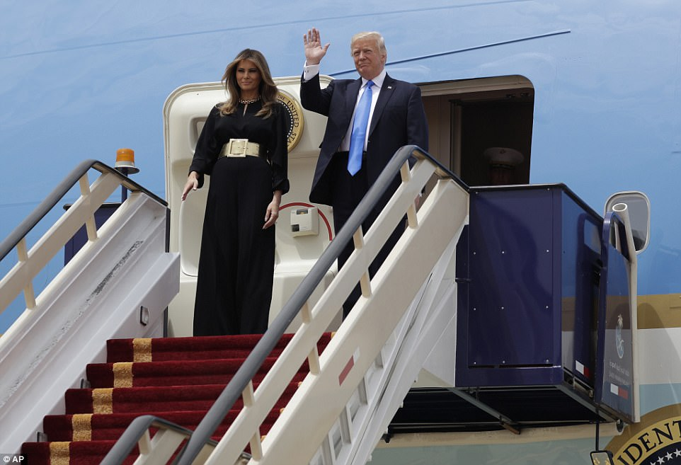 President Donald Trump, pictured with first lady Melania, touched down Saturday in the Middle Eastern country of Saudi Arabia after tweeting about his excitement for his first 'big foreign trip'