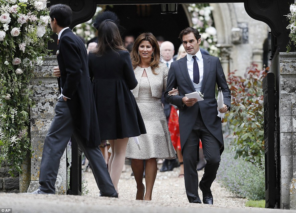 Roger Federer and his wife Mirka leave after the wedding. Pippa is a staunch tennis fan and regularly joins her sister in the Royal Box at Wimbledon