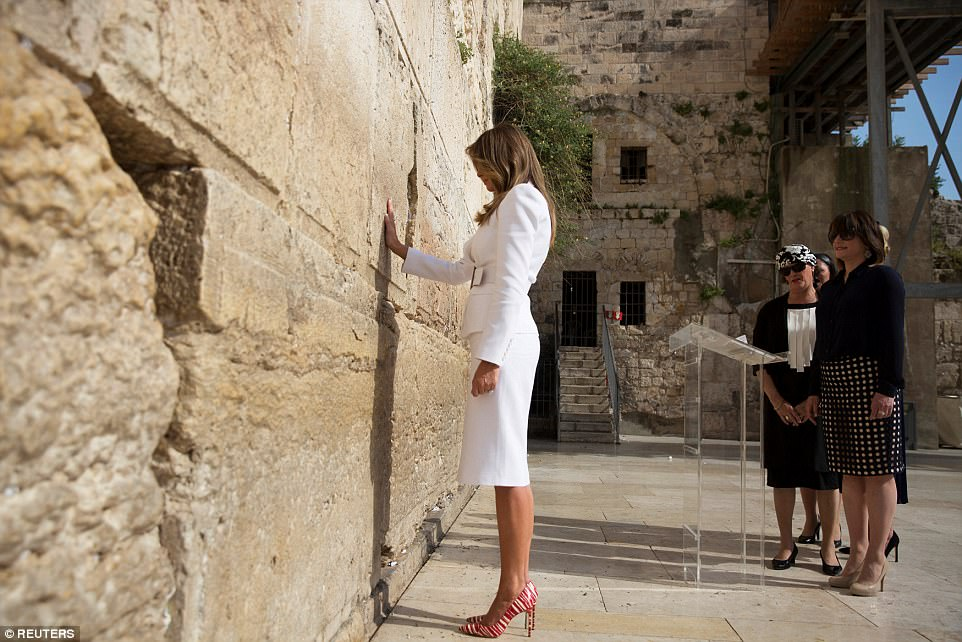 The White House has not yet said what the president or first lady wrote on the prayer notes they left at the Western Wall