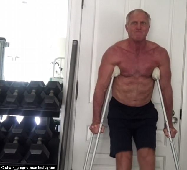 Shirtless Greg Norman shows off core strength  Daily Mail